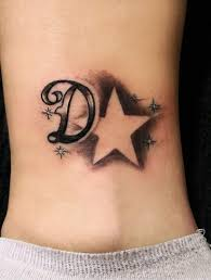 d letter with star tattoo design for ankle