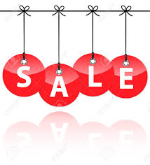 glossy icons with the word sale hanging like baubles