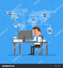 remote team working concept vector work stock vector 394805689