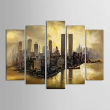 Ikea World Map Canvas by Landscape Painting Hand Painted Painting 5pcs Painting Iarts
