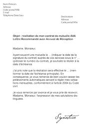 axa adresse si e lettre de résiliation mutuelle axa modèle de lettre
