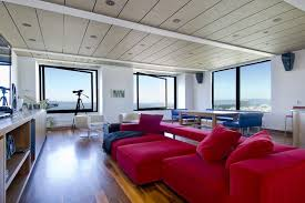 Red Sectional Sofas by Apartments Red Sectional Sofa In Cozy Living Room With Wood Plank