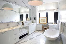 bathroom beautifully lit grained marble bathroom features open