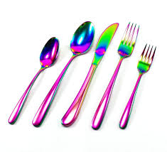 amazon com great spirit iridescent rainbow multicolor flatware