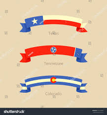 Tennesse Flag Ribbon Flag Texas Tennessee Colorado Flat Stock Vector 713103340