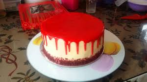 redvelvet cake with red chocolate glaze youtube
