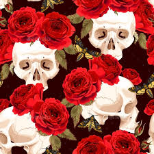 roses flowers seamless skulls and roses by greylilac graphicriver