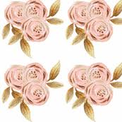 Gold Flowers Pink And Gold Fabric Wallpaper U0026 Gift Wrap Spoonflower