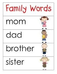 family vocabulary writing family units