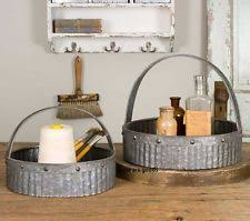 Galvanized Decor Unbranded Metal Round Décor Baskets With Handle Ebay