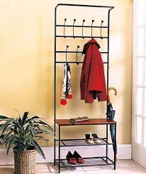 metal entryway hall tree storage bench w coat rack hanger shelves