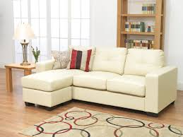 small l shaped ivory leather sleeper sofa with chaise lounge added