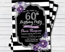 purple flower invite etsy