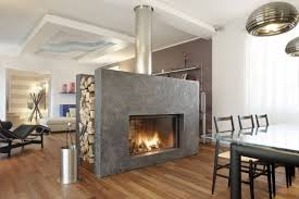 unique fireplace in the middle of living room modern fireplace