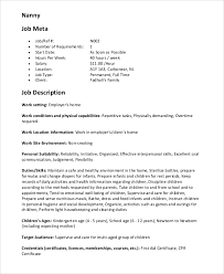 Nanny Job Description On Resume by Sample Nanny Resume 7 Examples In Pdf Word