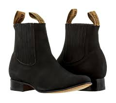 mens black nubuck leather ankle boots round pull on dress cowboy