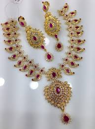 gold big chain necklace images Cz gold designer ruby chain with big pendant necklace rs 4795 png