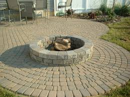 custom outdoor fire pits captivating paver block patio designs with diy round concrete fire