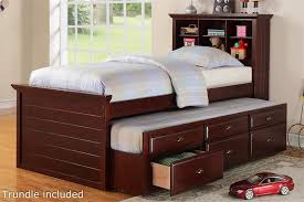 Cherry Twin Bed With Bookcase Headboard And Trundle With Storage