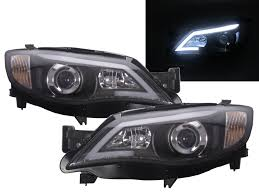 subaru cosmis black led drl day time projector head lights for 08 13 subaru