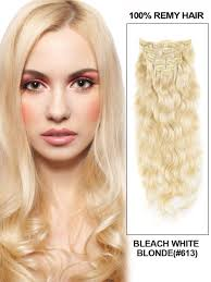 Blonde Hair Extensions Clip In by Inch Body Wavy Clip In Remy Hair Extensions 613 Lightest Blonde