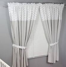 White And Grey Nursery Curtains Nursery Curtains Nursery Soft Furnishings Ebay