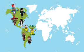 America Continent Map by Diversity People Concept World Map Group Cartoon Over American