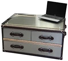 metal steamer trunk coffee table u2013 small size caster wheels