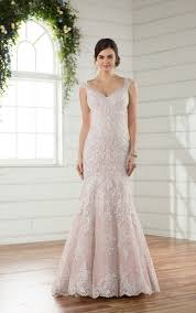 beaded fit and flare wedding dress with silver lace essense of