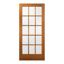 Exterior Pine Doors Jeld Wen 36 In X 80 In 15 Lite Unfinished Wood Front Door Slab