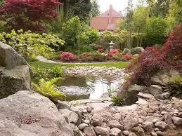 oriental garden design with pond and japanese ornament peaceful