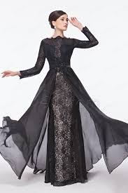 backless boat neck modest black lace prom dress with long sleeves