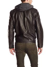 motorcycle suit mens levi u0027s men u0027s faux leather hooded motorcycle jacket ebay