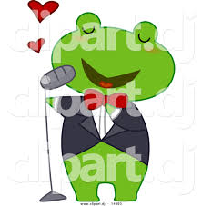 vector clipart of a cartoon frog singing love songs by bnp design