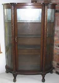 Antique Bow Front Oak China Cabinet Claw Feet Curved Glass Ebay