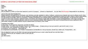 web developer offer letter