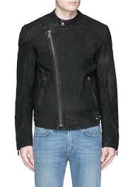 biker waistcoat scotch u0026 soda quilted shoulder leather biker jacket in black for