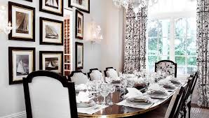 black and white dining room ideas and white scroll drapes design ideas