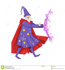 merlin wizard costume magician in a purple robe in action colorful fairy tale character