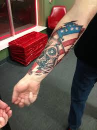 American Flag Skull Skull With American Flag Tattoo On Forearm Photos Pictures And