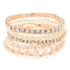 gold bracelet set images Rose gold tone blush faux pearl bracelet set claire 39 s us jpg