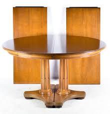 Oak Pedestal Table Henredon Double Pedestal Oak Dining Table Ebth