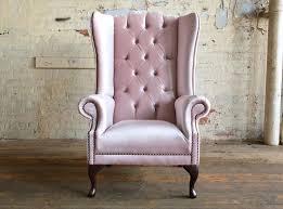Chesterfield Wing Armchair Geneva Pink Velvet Chesterfield Wing Chair Abode Sofas
