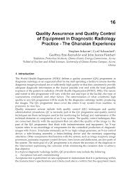 quality assurance and quality control of equipment in diagnostic