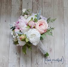 silk wedding bouquet bridal bouquet rose peony hydrangea boho