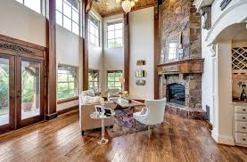 modern mansion living room rustic with clerestory windows silver