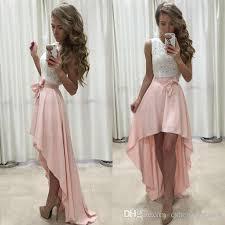 white lace prom dress 2017 high low prom dresses white lace sleeveless blush pink