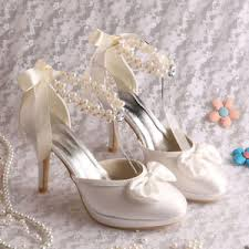 pearl wedding shoes satin high heel pearl wedding shoes uk size 3 8 ebay