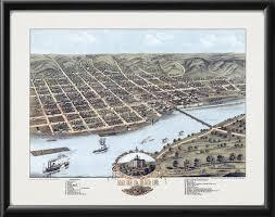 Moline Illinois Map Vintage City Maps Bird U0027s Eye View Map Of Moline Illinois 1869