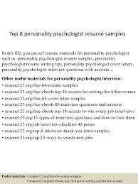 Psychology Resume Templates Top 8 Personality Psychologist Resume Samples 1 638 Jpg Cb U003d1432734125